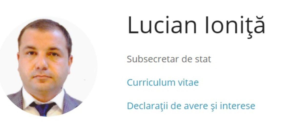 Lucian Ioniță a părăsit funcția de subsecretar de stat în Ministerul Sănătății