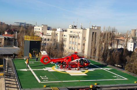 Heliportul Spitalului Universitar din Capitală începe să fie folosit: pacientă cu anevrism cerebral, adusă cu elicopterul de la Constanța