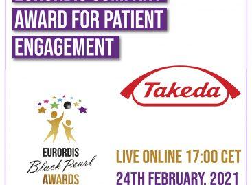 Takeda primește prestigiosul premiu EURORDIS 2021 Black Pearl pentru implicarea în îmbunătățirea vieții pacienților cu boli rare